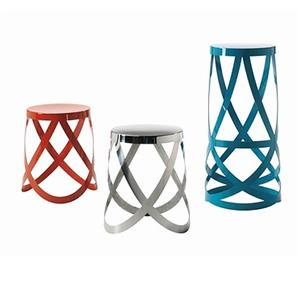 The Cappellini Ribbon Stools ($375-846) are fresh and eye-catching, and appear to move like a gown on the runway in their laser-cut, skirted form.