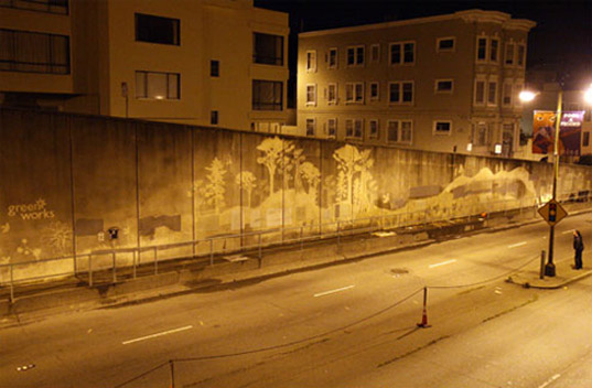 At the entrance to a tunnel in San Francisco, Clorox made reverse graffiti using their new Green Works eco-cleaning products as a marketing ploy. Source