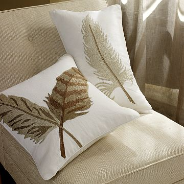The Williams-Sonoma Textured Feather Embroidered Pillow ($88) is the perfect interior counterpart to Lhuillier's flight of fancy.