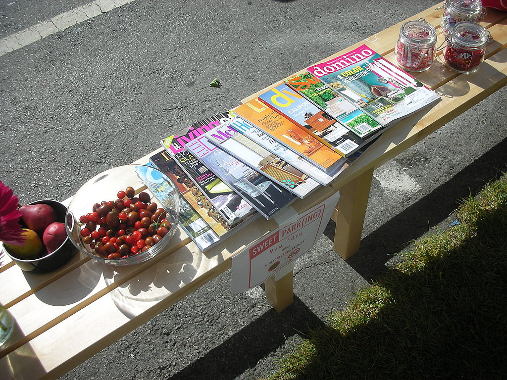 I brought out some cherry tomatoes that I picked from my garden, organic pears, and candy, of course. Shelter magazines made for light reading!