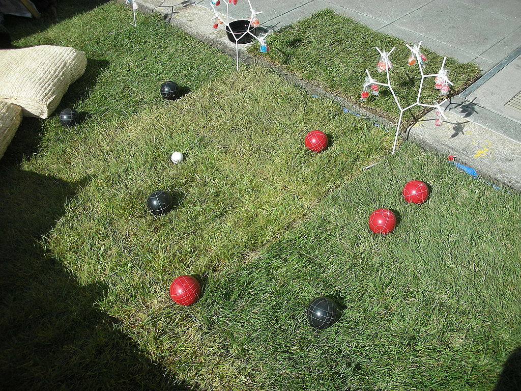 I brought my bocce ball skills (I'm in a league) to the park(ing) field.