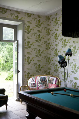 There's nothing masculine about this billiard room.