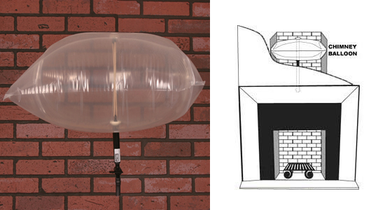 The Chimney Balloon ($42.99 and up) is an inflatable tight-sealing chimney damper that will prevent drafts from a chimney caused by a broken, warped, or missing flue damper. Installing one will plug up your chimney, saving you money and preventing energy and heat from escaping from your home.