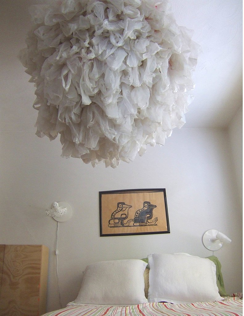 This lamp is made from plastic bags. Check out the next slide to see what it looks like lit up!