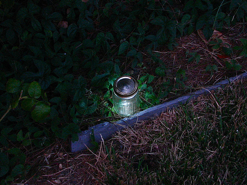 Light up the night with these Mason jar garden lights. Source