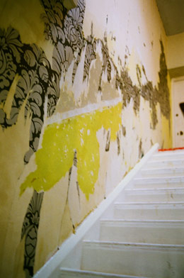 Layers of ancient wallpaper give this stairwell an artsy vibe.