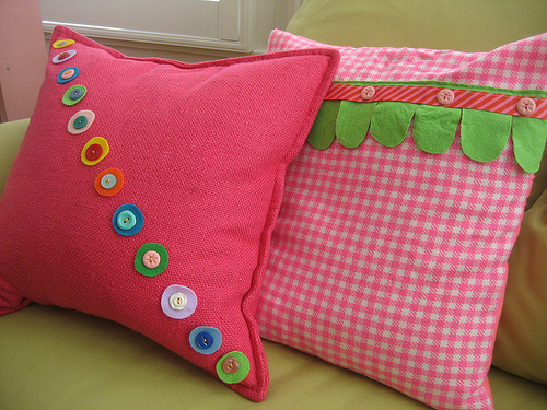 Laurel made both of these pillow covers, which sit on her sofa.
