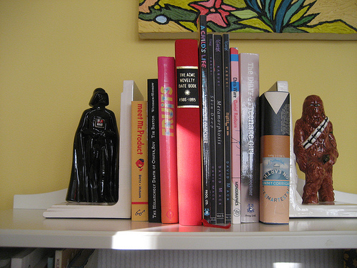 Laurel stole these Star Wars bookends from her brother, who didn't notice their abduction until he saw them in her house.