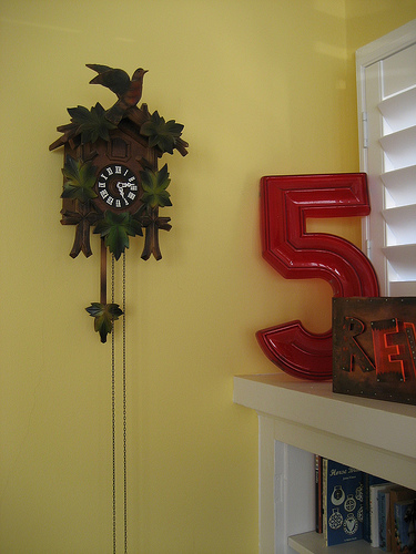 This vintage cuckoo clock was a great find. On the right is another piece of Laurel's metal art.