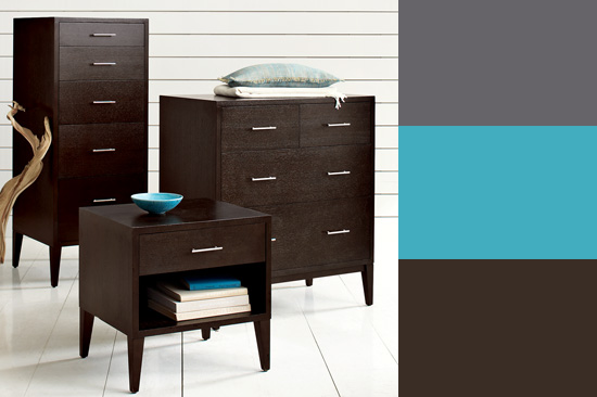 Here, turquoise accents brighten the mood of espresso furniture. Source
