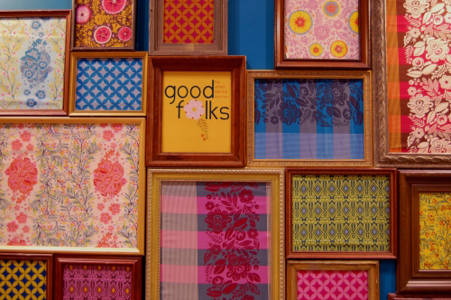 For a fun, tightly grouped art display that can be rotated at a moment's notice, frame fabric scraps instead of artwork.