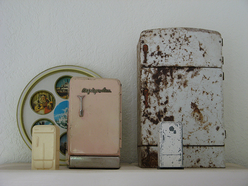 I adore Andy's tiny refrigerator collection.