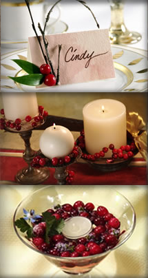 Got cranberries? Use 'em to fashion your own place cards, candle wraps, and candle cups.