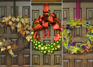 Make a Fall wreath now, and change its outfit when it comes Christmastime.