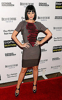 Katy Perry Attends Bondi Blonde's Style Mansion Party in Beverly Hills Wearing Gray Fitted Dress