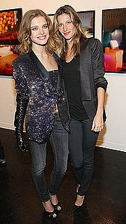Natalia Vodianova Wears Sequined Blazer and Leather Gloves to Vladimir Restoin-Roitfeld's Exhibition Opening