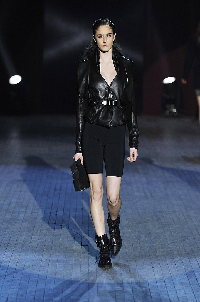 A Curvacious Belted Leather Jacket and Biker Shorts at Alexander Wang