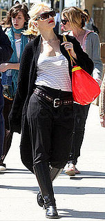 Gwen Stefani Strolls Ventura Boulevard in a Pirate Ensemble With Brown Belt and Coral LAMB Bag