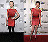 Lily Collins and Kristen Stewart Both Wear Herve Leger Coral and Black Striped Dress