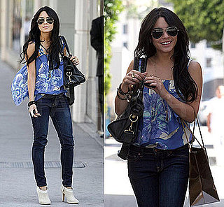 Vanessa Hudgens in LA Wearing a Blue Floral Madison Marcus Blouse, Skinny Cropped J Brand Jeans, Ivory Cole Haan Booties