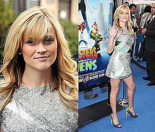 Reese Witherspoon at the LA Premiere of Monsters vs. Aliens in a Rodarte Silver and Green Dress and Balenciaga Pumps