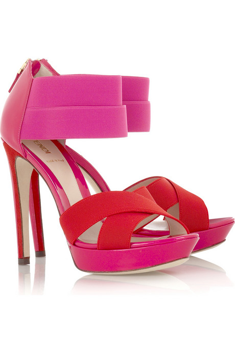 Fendi Strappy Patent Two-Tone Sandals