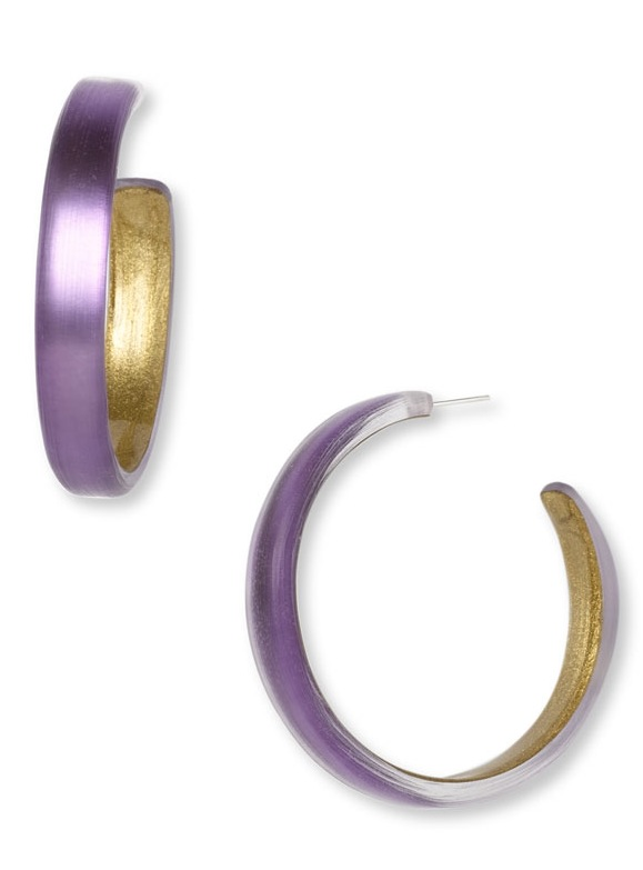 Alexis Bittar Skinny Hoop Lavender Earrings