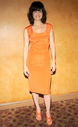 Photo of Carla Gugino in Orange Dress at Desire Under the Elms Photocall in NYC