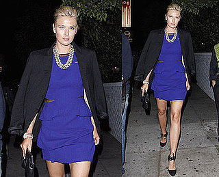 Tennis Star Maria Sharapova Seen in LA Wearing Cobalt Dress and Black Blazer