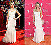 Mad Men Actress January Jones and Swimsuit Model Marisa Miller Wear the Same White Dolce & Gabbana Dress