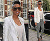 Photo of Singer Ciara in London Wearing Gray Jeans and White Blazer