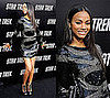 Actress Zoe Saldana in Black And Silver Beaded Pucci Dress at the LA Star Trek Premiere