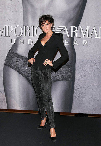 Victoria Beckham Wears Crystal Leggings To Unveil Her Emporio Armani Lingerie Ad at Macy's NYC on May 6, 2009