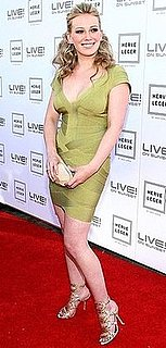 Photo of Hilary Duff Wearing Strappy Sergio Rossi Sandals at Herve Leger by Max Azria Spring Collection Preview