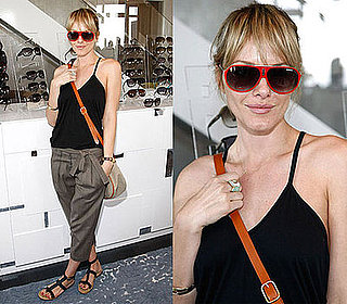 Actress Monet Mazur in Cargo Pants and Red Sunglasses at Solstice Sunglasses at the Lia Sophia Upfront Suite