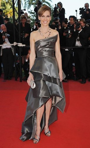 Hilary Swank Attends 2009 Cannes Film Festival in Gunmetal Tiered Gown