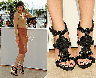 Actress Paz de la Huerta in Camel Skirt and Black Tribal Sandals at the Enter the Void Photocall at 2009 Cannes Film Festival