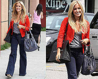 Kristin Cavallari Strolls LA Wearing Red Blazer and Wide Leg Jeans