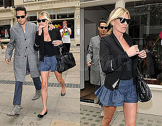 Kate Moss Shops in London Wearing Denim Pleated Shorts and Black Blazer