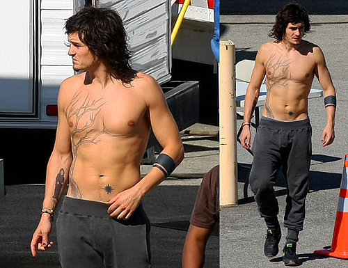 Photos of Orlando Bloom Shirtless and On Stage While Filming Sympathy for Delicious in LA