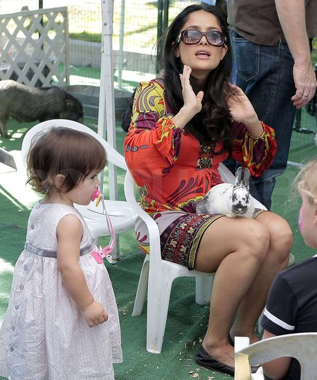 Salma and Valentina Petting Animals in LA