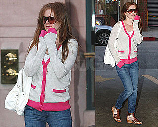 Photos of Isla Fisher in a Pink Cardigan in LA