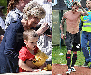 Photos of Cruz Beckham Carrying a Winnie the Pooh Stuffed Animal at Lunch With Sandra Beckham