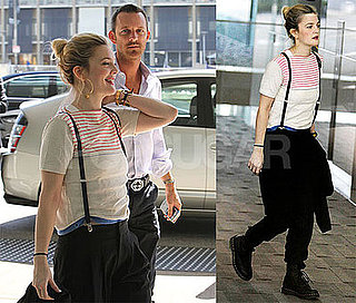 Photos of Drew Barrymore in LA Wearing Suspenders