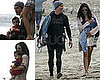 Photos of Matthew McConaughey, Camila Alves, Mohawked Levi, and Their Dog on Malibu Beach