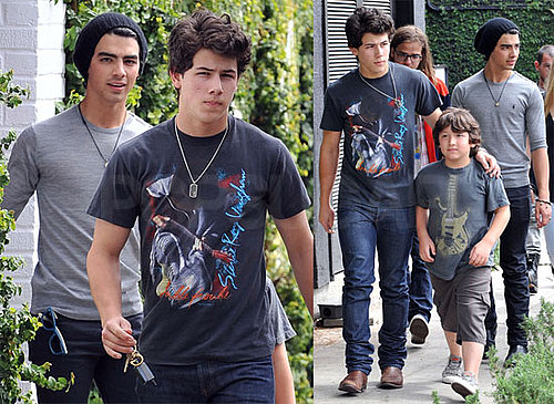 Photos of Nick, Kevin, Joe, and Frankie Jonas Out For Lunch in LA