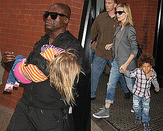 Photos of Heidi Klum, Seal, Leni Samuel, Johan Samuel, Henry Samuel at JFK