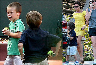 Photos of Victoria, Cruz, Brooklyn, Romeo Beckham at Tennis Practice