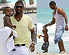 Photos of Usher Raymond and Usher Raymond V on the Beach in Miami