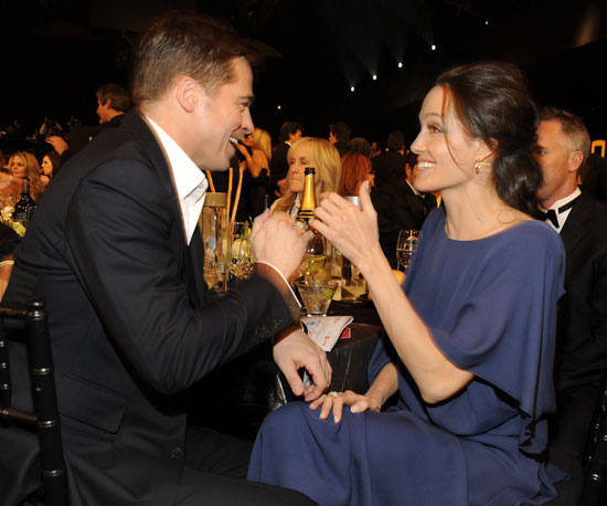 Brad Pitt and Angelina Jolie shared a laugh at the Screen Actors Guild Awards in January 2009. They were staples during that award season, thanks to their many nominations for The Curious Case of Benjamin Button and Changeling, respectively.